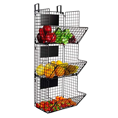 YUKOOL 3Tier Metal WallMounted Wire Baskets with Hanging Hook and Chalkboards to Put Fruits Vegetables Snacks or Product Storage and Organization etc in Kitchen