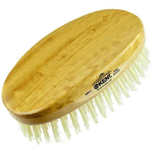 Kent MS11 Finest Men's Hair Brush and Facial Brush for Beard Care - 100% Natural White Boar Bristle Brush for Mens Grooming, Scalp Brush, 360 Wave, and Beard Straightener For Men's Hair Care