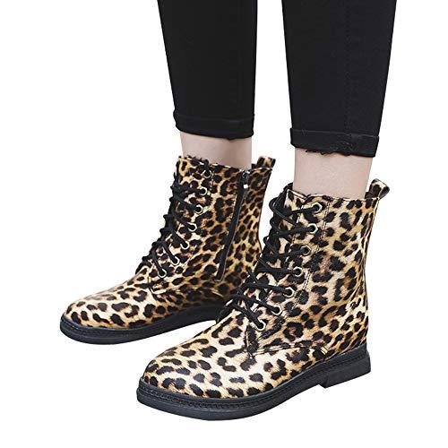 Geili Damen Schnürstiefeletten mit Blockabsatz Modern Leopard Muster Boots Frauen Warm Gefüttert Winterstiefel Kurzschaft Lederstiefel Flache Schuhe mit Reißverschluss