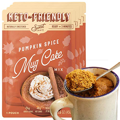 SWEET LOGIC Keto Dessert Mug Cake Mixes - Sugar Free Gluten Free Keto Snack - 4 Keto Mug Cake Mixes - Pumpkin Spice - Diabetic Friendly Keto Sweets and Treats