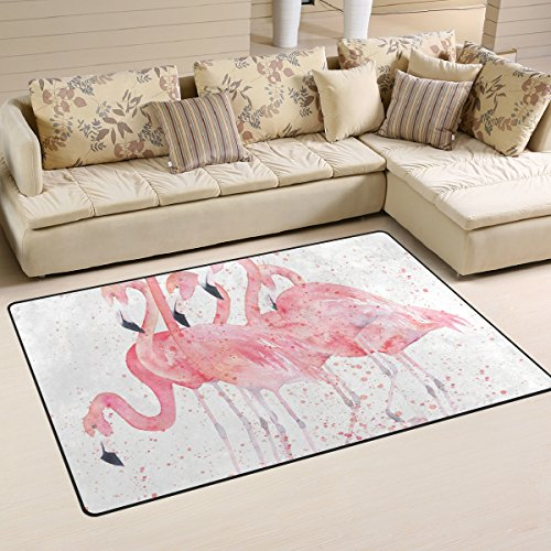 JSTEL INGBAGS Teppich, superweich, modern, Aquarell-Flamingo-Teppich, Wohnzimmer-Teppich für Kinder, Spielteppich und Teppiche, 79 x 51 cm, Polyester, multi, 60 x 39 inch