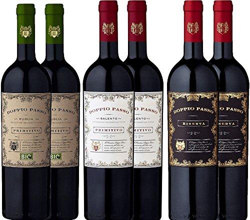 6er Probierpaket - Doppio Passo Primitivo Salento | Riserva | Bio - italienischer Rotwein aus Apulien | 6 x 0,75 Liter