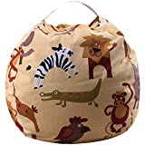 THEE Bolsa de Lona Organizador de Almacenamiento para Juegos de Peluche de Animales Bean Bag (32', Zoo)