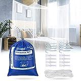 Ciaoed Moskitonetz großes Quadratische Moskitonetze für Doppelbett und Einzel Bett 4 offenen Seiten rechteckiger Netzvorhang Reise mit Tragetasche 190 * 210 * 240cm(weiß)