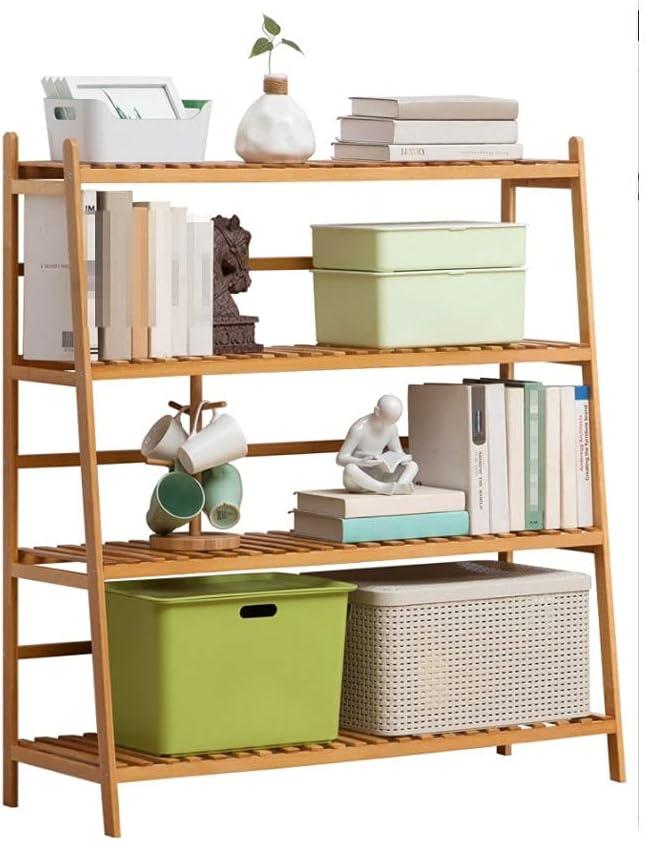 Bamboo Bathroom Storage Finally unisex popular brand Shelf 4 Open Tier Free-Standing Un