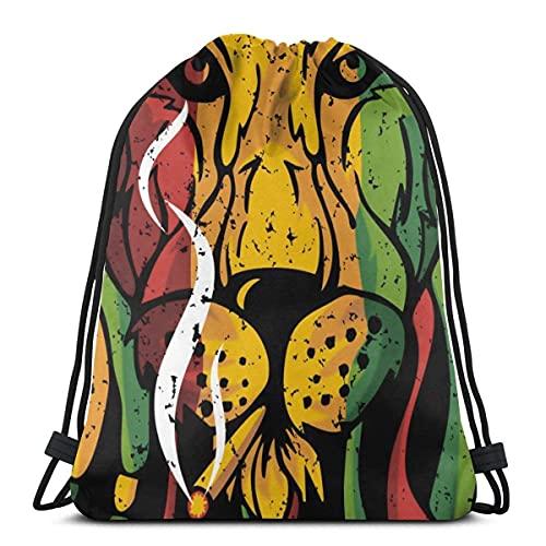 Lmtt Bolsas con cordón Mochila de la cultura del león Bolsas con cuerdas de tracción Gimnasio de almacenamiento deportivo a granel para mujeres Mochila de viaje impermeable como imagen Talla única