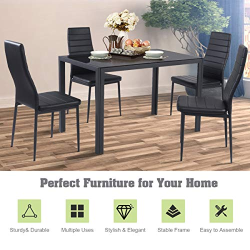 Giantex 5 Piece Kitchen Dining Table Set with Glass Table Top Leather Padded 4 Chairs and Metal Frame Table for Breakfast Dining Room Kitchen Dinette, Black
