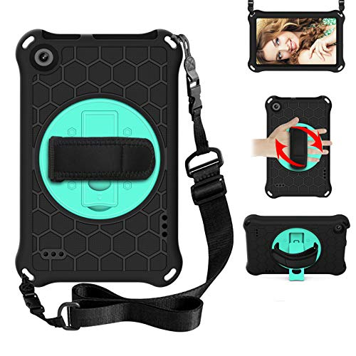 BAUBEY Case for Amazon Fire 7 Tablet (9th Generation 2019 & 7th Generation 2017 & 5th Generation 2015) Drop & Shockproof Hybrid Case with 360 Rotating Stand Hand Strap Shoulder Strap (Black+Aqua)