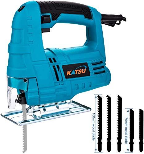KATSU Sierra de calar eléctrico 400W velocidad variable corte de plástico, madera y acero + 5 cuchillas