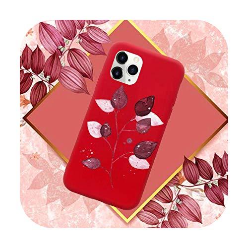 Funda para teléfono móvil con diseño de hojas, color rojo caramelo para iPhone 11 12 Mini Pro XS MAX 8 7 6 6S Plus X SE 2020 XR-a5-7plus u 8plus