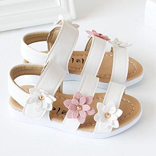 Kinder Sandalen mit Blumen, Lauflernschuhe (25, Weiß) - 3