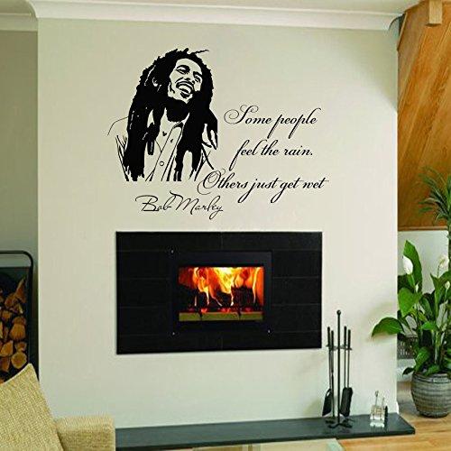Vinyl Wandtattoo Zitat Bob Marley Einige Leute spüren den Regen Some People Feel The Rain Others Just Get Wet Reggae Musiker Liedtext Wandaufkleber Wandsticker Wanddekoration für Musik Studio A531
