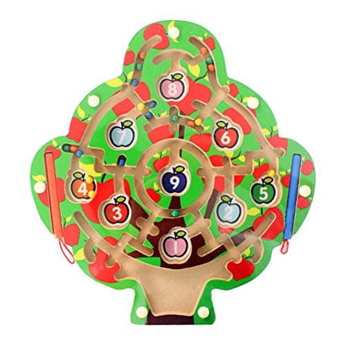 Woqook Brain Game Wood Wooden Apple Tree Maze Toy with 2 Magnetic Pen Children's Maze Toy Set- Colorful