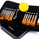 BENICCI Paint Brush Set of 16 – 15 Different Shapes + 1 Flat Brush – with...