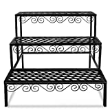 Tiered Plant Stand Outdoor Metal 3 Tier Stands for Multiple Plants Ladder Potted Indoor Shelf Holder Rack