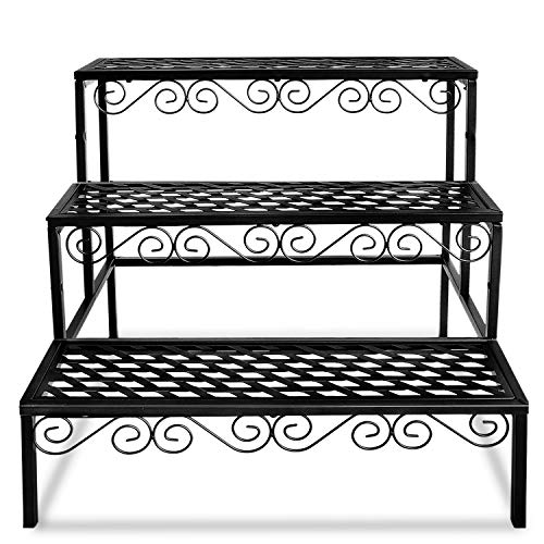 FOYUEE Tiered Plant Stand Outdoor Metal 3 Tier Stands for Multiple Plants Ladder...