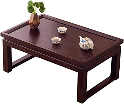 Black Walnut Tea Table Tatami Coffee Table Bay Window Table Balcony Table Japanese Low Table Platform Table Coffee Table (Color : Black, Size : 50 * 40 * 25cm)