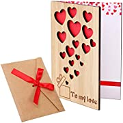 Cooraby Bamboo Wooden Greeting Card with Envelope Gift Idea Bamboo Wood Card for Valentine's Day Mother's Day or Other Occasion