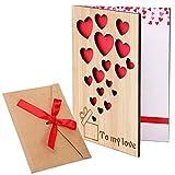 Cooraby - Biglietto di auguri in legno di bambù con busta, idea regalo per San Valentino, festa della mamma o altre occasioni