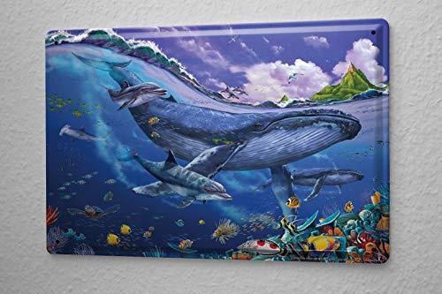 Rebecca Simpson 8x12 Decorative Tin Sign Vet Practice Blue Whale Dolphin Ocean Metal Plate