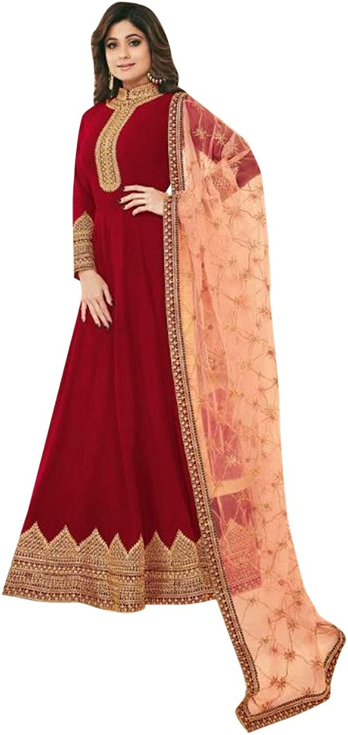 Red Designer Abaya style Anarkali Salwar Suit for Women Indian Muslim dress Party wear 7656