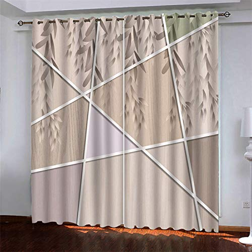 SSHHJ Nordic 3D Geometric Printing Curtains Reusable Waterproof And Thick Curtains Creative Household Items For Wall Decoration 2 Pieces