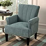 Accent Chair Rivet Tufted Polyester Armchair, Henf Living Room Chair Single Sofa, Barrel Chair Club Chair with Rubber Wood Legs, Upholstered Chair for Living Room/Bedroom/Hosting Room (Mint Green)