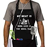 Funny BBQ Aprons for Men, Mens Aprons with Pocket, My Meat is 100% Going in Your Mouth Today Apron, Gifts for Men, Adjustable and Waterproof