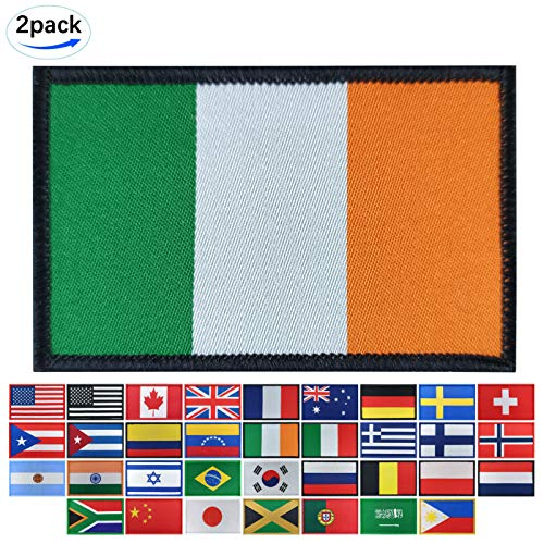 2Pack Ireland Flag Woven Patch St. Patrick's Day Irish Flags Patches Pride Clothes Moral Backside Tactical Patches Hook and Loop Attach for Military Uniform Tactical Bag Jacket Jeans Team Backpack Hat