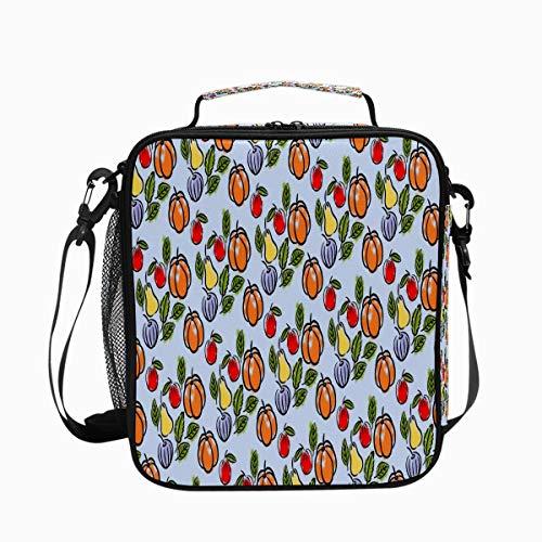 Bolsa de almuerzo con aislamiento impreso para mujer congelable térmica de calabaza frutas manzana a prueba de fugas bolsa de almuerzo Hampton Keep Cooler Wide Open impermeable lonchera