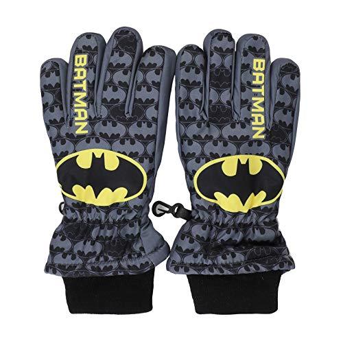 DC Comics Batman Skihandschuhe für den Winter, mit elastischem Manschette, für Kinder, Figuren, Grau 11-12 Jahre
