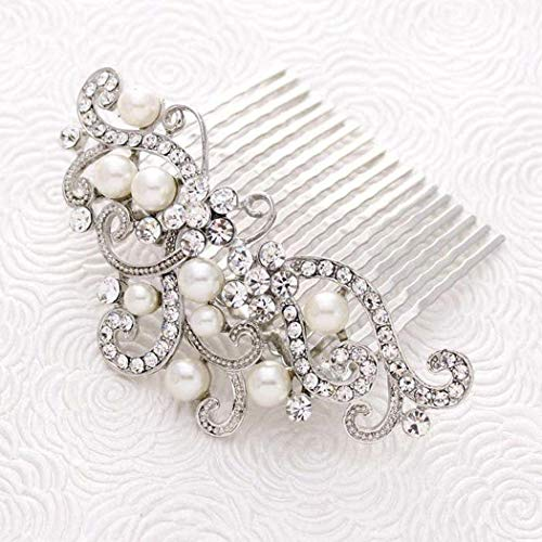 Yean Decorative Bride Wedding Hair Combs with Rhinestones Bridal Hair Accessories for Bridesmaids (Silver)