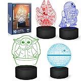 Lámpara de noche de Star Wars, 16 colores cambiantes, lámpara decorativa 3D con mando a distancia, regalo fans de Star Wars, niños y hombres