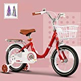 LFFCC Kids Bike, 12', 14', 16', 18' Bicycle for Girls & Boys, for Ages 2-13 Years Old, Children Bicycle with Training Wheels & Hand Brakes,Red + Streamers,18'