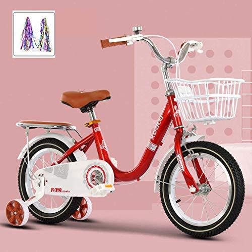 SHARESUN Bicicleta infantil de 12 pulgadas, 14 pulgadas, 16 pulgadas, 18 pulgadas, bicicleta para niñas y niños, para edades de 2 a 13 años, rojo + streamers, 16 pulgadas