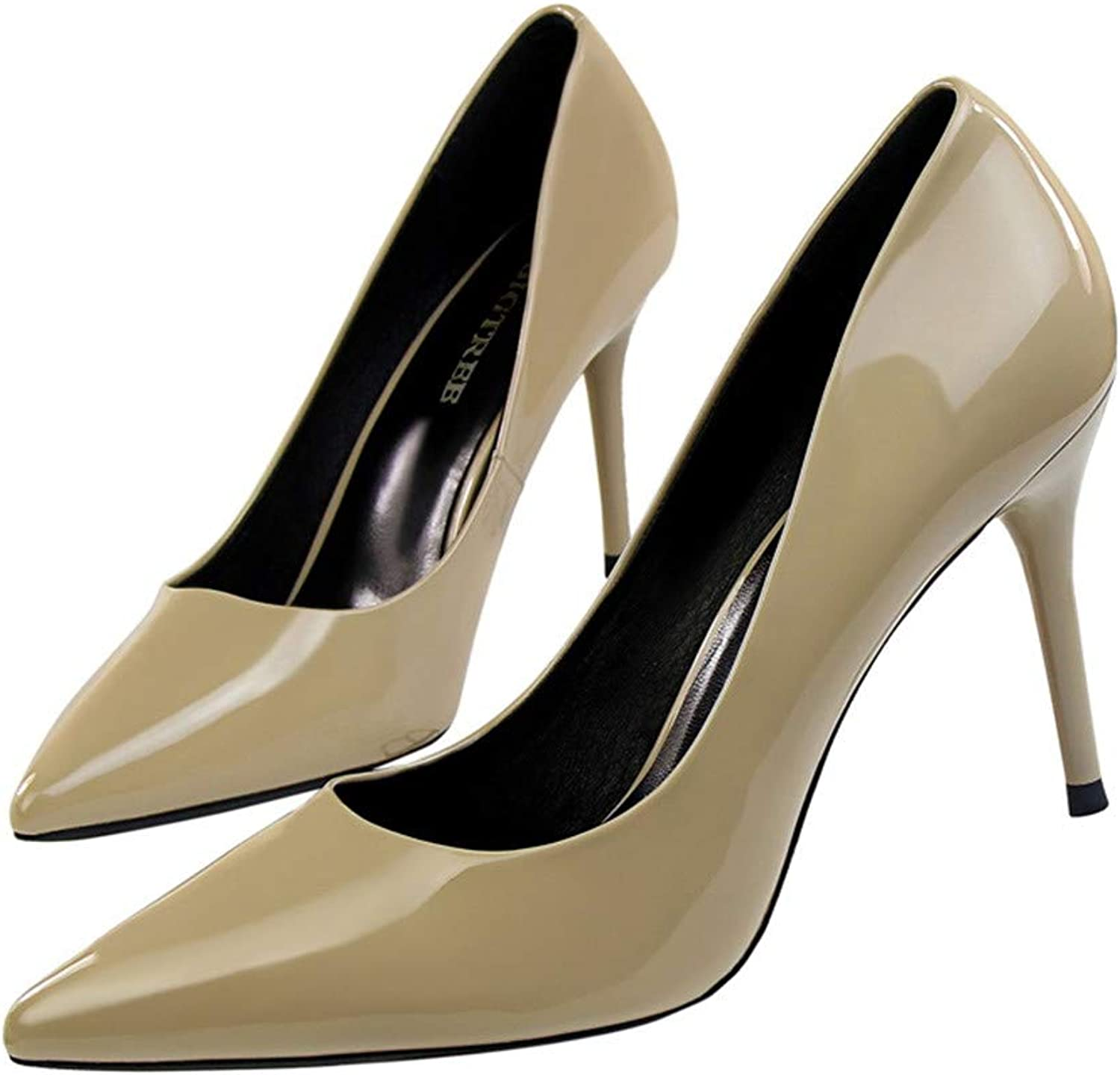 Women Basic Pumps Sexy Pointed Toe Thin Heel High Heels Glossi shoes Glitter Stiletto Heels 2019