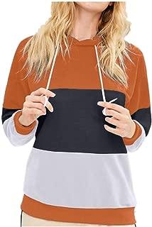 Women's Hoodies Supersoft Patchwork Long Sleeve Hooded Sweatshirt Pullover