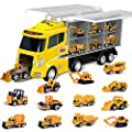 FUN LITTLE TOYS 12 in 1 Die-cast Construction Truck, Toy Car Play Vehicles in Carrier Truck, Present for Kids by FUN LITTLE TOYS