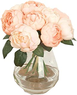 DZT1968 1 Bouquet 6 Heads Artificial Peony Silk Flower Leaf Home Wedding Party Decor (Pink)