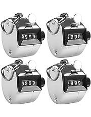 4個パック カウンター AFUNTA 手掌用 デジタル 数取器 フック/リング 付き シルバー
