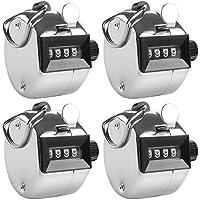 AFUNTA 4 Contador Manual de 4 digitos, 4 Pack Metálico Mecanismo Digit Hand Tally Counters Tracker Manual Clicker con Metal Dedo Anillo Hoop Holder -Plata