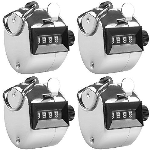AFUNTA 4-stellige Handzähler, 4er Pack Mechanische Lap Tracker Manuelle Clicker mit Metall-Finger Ring Ringhalter - Silber