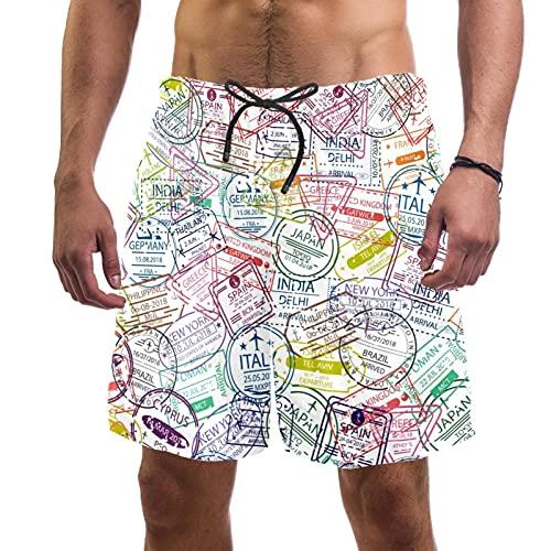 Yuzheng Tronco de Hombre de Secado rápido Boleto de Viaje Nacional Pantalones Cortos de Playa con Bolsillos para Hombre Regular Extendido