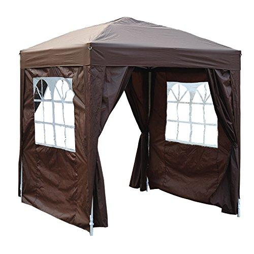 Outsunny Tonnelle de Jardin Tente Pliante Barnum Pop-up 2 x 2 m 4 parois latérales Amovibles 2 fenêtres Sac de Transport pour Camping, Festival, Plage, Jardin Chocolat