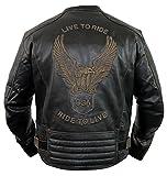 Chaqueta de piel para moto con un águila en relieve