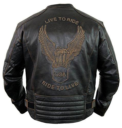 Motorrad Lederjacke mit einer Adler Prägung (4XL)