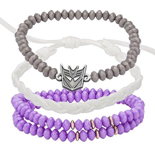 Hasbro Jewelry Unisex Adult Transformers Decepticon Arm Party Stretch Bracelet, White/Purple, One Size