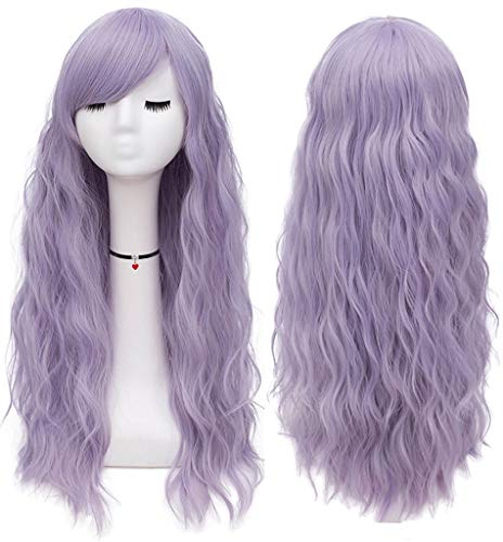 Mildiso Purple Wigs for Women Long Curly Wavy Lavender Hair Wig Natural Cute Colored Wig with Breathable Wig Net Perfect for Daily Party Halloween M047E