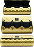 Women Watch Travel Case - 3 Watch Case for Storage and Display Case - Mirage Watch Roll for Women - Royal Gold with Glossy Diamond Stitching Finish