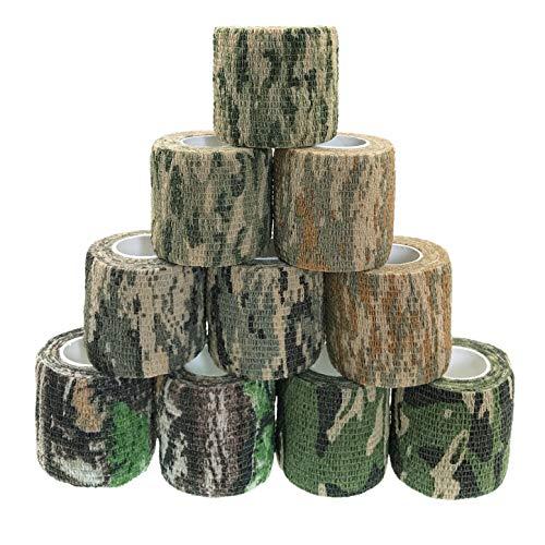 JZK 10 rollos de vendaje de camuflaje autoadhesivo, cinta de camuflaje elástica no tejida, cinta elástica de camuflaje cohesiva para equipo de caza, rifle, lente de cámara SLR, escopeta, teles